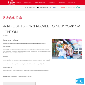 Return economy flight to London or New York flying Qantas Airways or Virgin Australia for 2 people, valued at $4000.