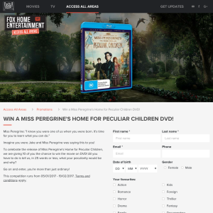 Win 1 of 10 copies of 'Miss Peregrine's Home for Peculiar Children' on blu-ray!