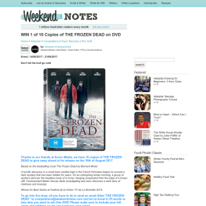 Win 1 of 10 Copies of The Frozen Dead on DVD
