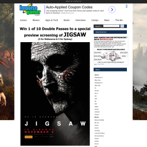 Win 1 of 10 Double Passes to a special preview screening of Jigsaw