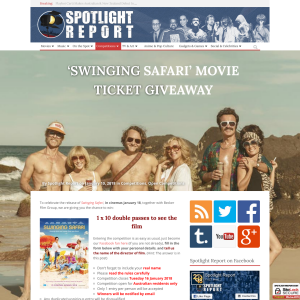 Win 1 of 10 Double Passes to see Swinging Safari