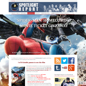 Win 1 of 10 double passes to Spider-Man: Homecoming