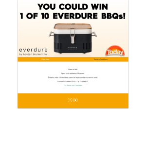 Win 1 of 10 Everdure BBQ's by Heston Blumenthal