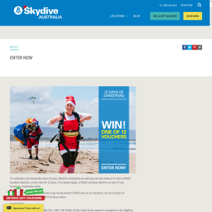 Win 1 of 12 Tandem Skydive Vouchers