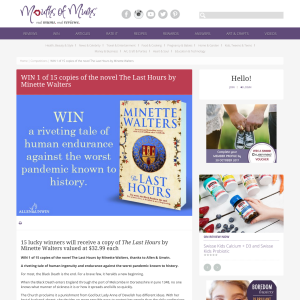 Win 1 of 15 copies of the novel The Last Hours by Minette Walters