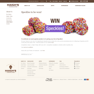 Win 1 of 15 Specktacular Speckle Prizes
