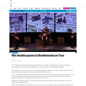 Win 1 of 17 double passes to Beatlemania on Tour tribute show