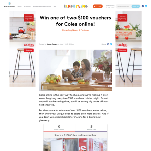 Win 1 of 2 $100 vouchers for Coles online!