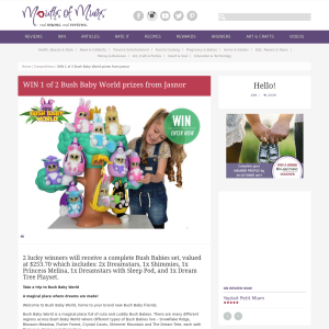 Win 1 of 2 Bush Baby World prizes from Jasnor