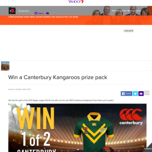 Win 1 of 2 Canterbury Kangaroos Prize Packs