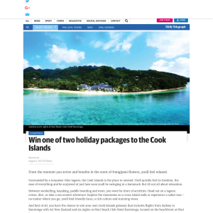 Win 1 of 2 Cook Islands Holiday Packages