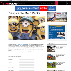 Win 1 of 2 Despicable Me 3 Prize Packs