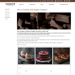 Win 1 of 2 hampers of delicious Haigh's Chocolates to bake with!
