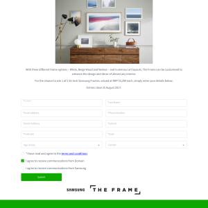Win 1 of 2 Samsung The Frame 55
