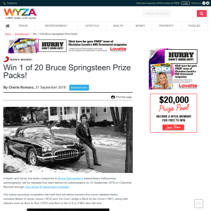 Win 1 of 20 Bruce Springsteen Prize Packs