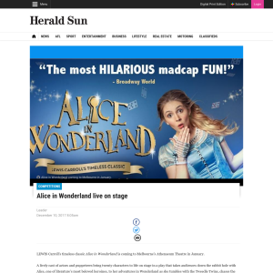 Win 1 of 20 double pass to Alice in Wonderland