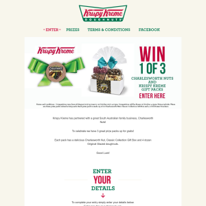 Win 1 of 3 Charleswoth Nuts/Krispy Kreme Prize Packs