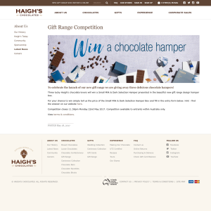 Win 1 of 3 chocolate hampers!