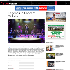 Win 1 of 3 double passes to Legend in Concert