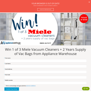 Win 1 of 3 Miele Vacuum Cleaners + 2 Years Supply of Vac Bags from Appliance Warehouse