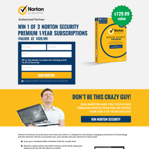 Win 1 of 3 Norton Security Subscriptions