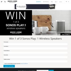 Win 1 of 3 Sonos Play: 1 Wireless Speakers