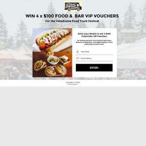 Win 1 of 4 $100 Food & Bar VIP vouchers!