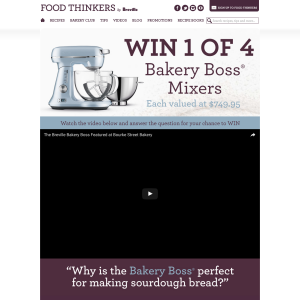 Win 1 of 4 Breville 'Bakery Boss' Mixers!