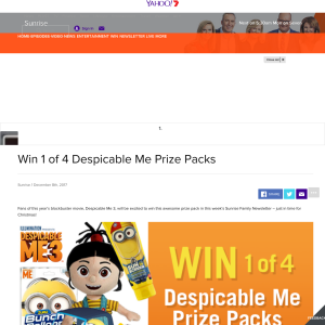 Win 1 of 4 Despicable Me Prize Packs