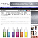 Win 1 of 4 Skin Inc 'Hydrate 'Em' serum packs!