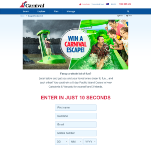 Win 1 of 4 Trips for 4 People on a Carnival Spirit 8 Day Pacific Island Cruise to New Caledonia & Vanuatu Departing Sydney, NSW