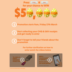 Win 1 of 5 $1,000 eftpos gift cards OR 1 of 450 daily $100 eftpos gift cards! (Purchase Required)