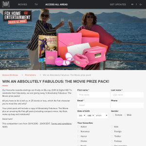 Win 1 of 5 'Absolutely Fabulous: The Movie' prize packs!