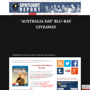 Win 1 of 5 copies of Australia Day on blu-ray