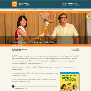 Win 1 of 5 copies of Battle of the Sexes on bluray