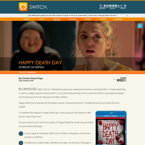 Win 1 of 5 copies of Happy Death Day on bluray