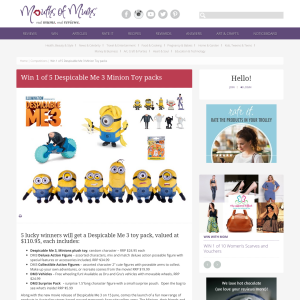Win 1 of 5 Despicable Me 3 Minion Toy packs