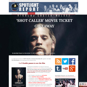Win 1 of 5 Double passes to see Shot Caller