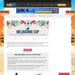 Win 1 of 5 double passes to watch the Melbourne Cup at Skypoint
