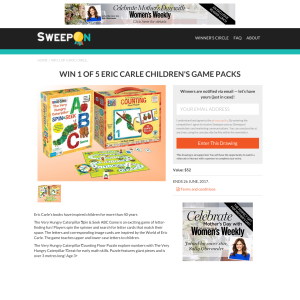 Win 1 of 5 'Eric Carle' childrens' game packs!