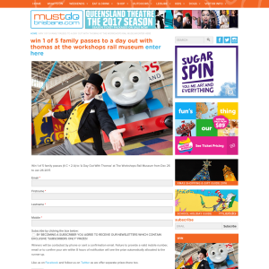 Win 1 of 5 Family Passes to 'A Day Out With Thomas' at The Workshops Rail Museum