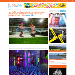 Win 1 Of 5 Family Passes To Experience Urban Xtreme's Ski Or Snowboarding & Laser Tag