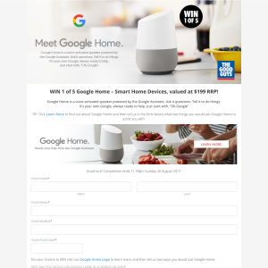 Win 1 of 5 Google Home Smart Home Devices