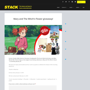 Win 1 of 5 Mary and The Witch's Flower Prize Packs