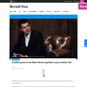 Win 1 of 6 double passes to see Mark Vincent sing Mario Lanza at Hamer Hall