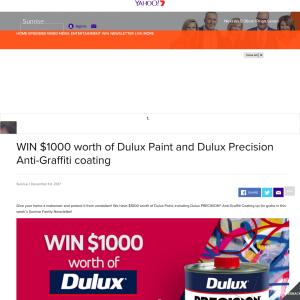 Win $1000 worth of Dulux Paint and Dulux Precision Anti-Graffiti coating