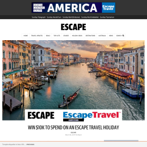Win $10K to spend on an 'ESCAPE TRAVEL' holiday!