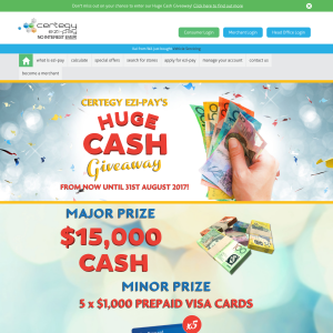 Win $15,000 cash or 1 of 5 $1,000 Prepaid Visa cards