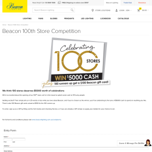 Win $5,000 cash or 1 of 100 $100 gift cards to spend on 'Beacon Lighting'!