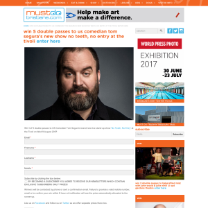 Win 5 double passes to us comedian tom segura's new show no teeth, no entry at the tivoli